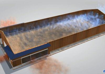 3D Animation eines Stall Belüftungssystem der Firma Barku